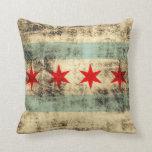 Vintage Grunge Flag of Chicago Pillow