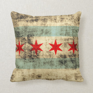 Vintage Grunge Flag of Chicago Pillow