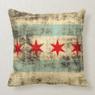 Vintage Grunge Flag of Chicago Throw Pillow