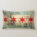 Vintage Grunge Flag of Chicago Throw Pillow