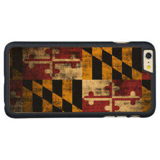Vintage Grunge Flag of Maryland Carved Maple iPhone 6 Plus Slim Case