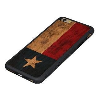 Vintage Grunge Flag of Texas Carved® Cherry iPhone 6 Plus Bumper