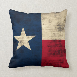 Vintage Grunge Flag of Texas Throw Pillows