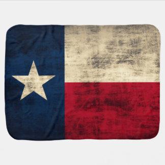 Vintage Grunge Flag of Texas Receiving Blanket