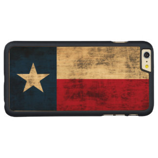 Vintage Grunge Flag of Texas Carved® Maple iPhone 6 Plus Case