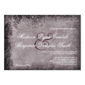 Vintage Grunge Floral Frame Wedding Invitations