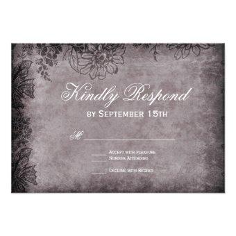 Vintage Grunge Floral Frame Wedding RSVP Cards