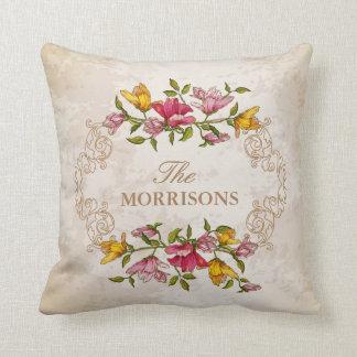 Vintage Grunge Floral Wreath Monogram Family Name Throw Pillow