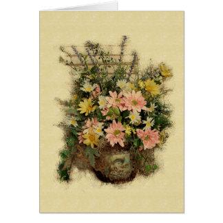 Vintage Grunge Flowers- Greeting Card