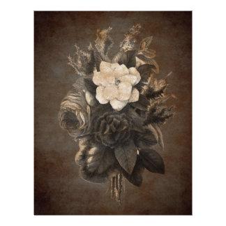 Vintage Grunge Flowers Letterhead
