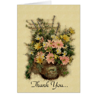 Vintage Grunge Flowers- Thank You Note Card