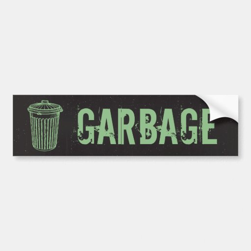 Vintage Grunge Garbage Trash Can Label Bumper Sticker