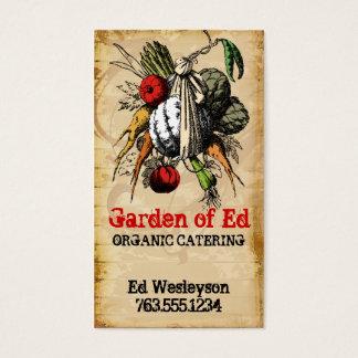 vintage grunge garden vegetable chef catering card
