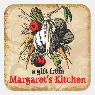 vintage grunge garden vegetable food gift label square sticker