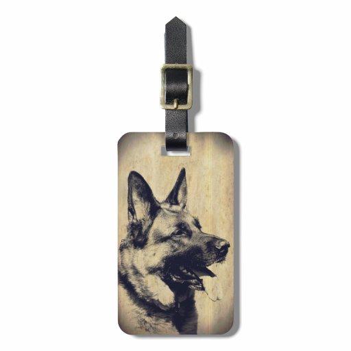 Vintage Grunge German Shepherd Dog Head Luggage Tag
