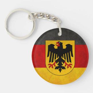 Vintage Grunge Germany Flag Deutschland Flag Double-Sided Round Acrylic Keychain
