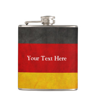 Vintage Grunge Germany Flag with Custom Text Hip Flask