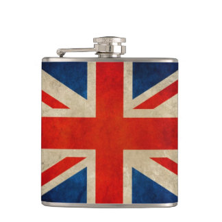 Vintage Grunge Great Britain UK Flag Union Jack Flask