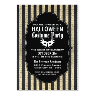 "Vintage Grunge Halloween Costume Party Invitations 5"" X 7"" Invitation Card"
