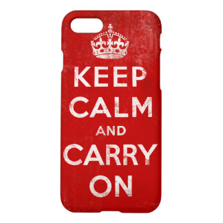 Vintage Grunge Keep Calm and Carry On Red iPhone 7 Case