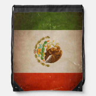 Vintage Grunge Mexico Mexican Flag Drawstring Bag