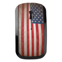 Vintage Grunge Patriotic American Flag USA Wireless Mouse