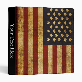 Vintage Grunge Patriotic USA American Flag 3 Ring Binder