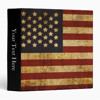 Vintage Grunge Patriotic USA American Flag Binder