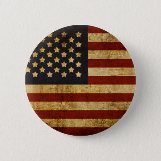 Vintage Grunge Patriotic USA American Flag Button
