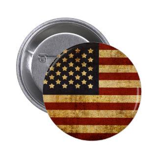 Vintage Grunge Patriotic USA American Flag Button