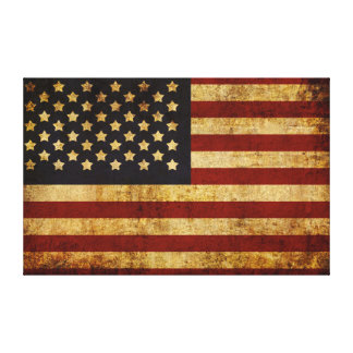 Vintage Grunge Patriotic USA American Flag Gallery Wrap Canvas