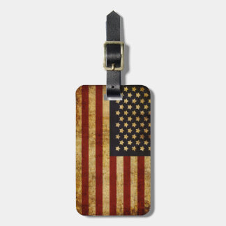 Vintage Grunge Patriotic USA American Flag Luggage Tag