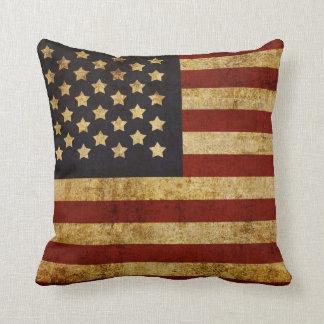 Vintage Grunge Patriotic USA American Flag Pillows