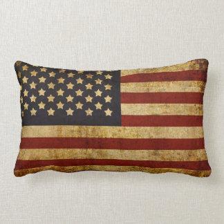 Vintage Grunge Patriotic USA American Flag Throw Pillow