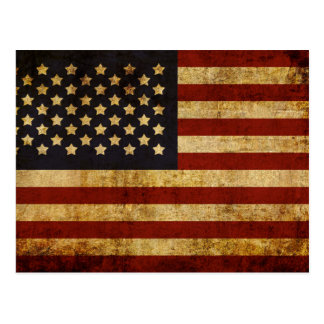 Vintage Grunge Patriotic USA American Flag Postcard
