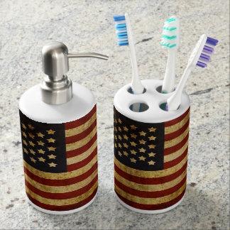 Vintage Grunge Patriotic USA American Flag Soap Dispenser And Toothbrush Holder