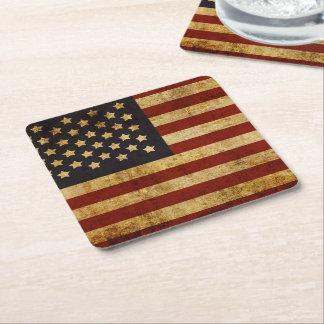 Vintage Grunge Patriotic USA American Flag Square Paper Coaster