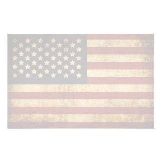Vintage Grunge Patriotic USA American Flag Stationery
