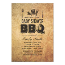 Vintage Grunge Pig Roast Baby Shower BBQ Invitation