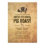 Vintage Grunge Pig Roast BBQ Party Invitations