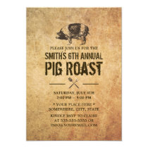 Vintage Grunge Pig Roast BBQ Party Invitations