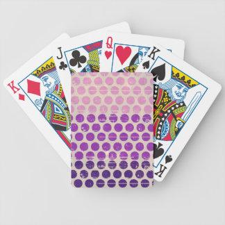 Vintage grunge polka dots purple pink white peach bicycle playing cards