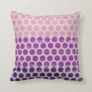 Vintage grunge polka dots purple pink white peach pillow