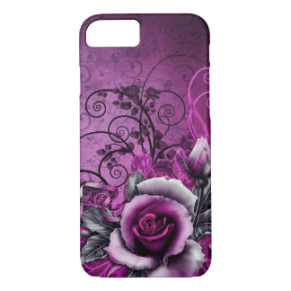 vintage grunge purple rose vector swirl art iPhone 7 case