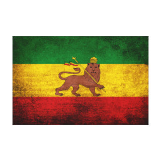 Vintage Grunge Rastafarian Flag Canvas Print
