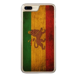 Vintage Grunge Rastafarian Flag Carved iPhone 7 Plus Case