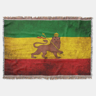 Vintage Grunge Rastafarian Flag Throw Blanket