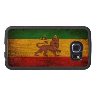 Vintage Grunge Rastafarian Flag Wood Phone Case