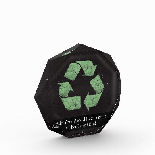 387ac3a55b786 Vintage Grunge Recycle Symbol Acrylic Award