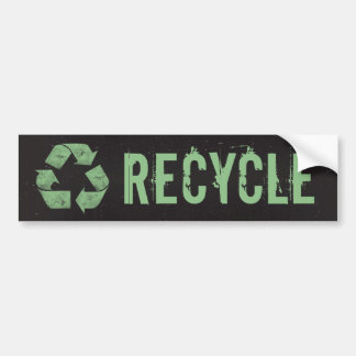 Vintage Grunge Recycle Symbol Bumper Sticker